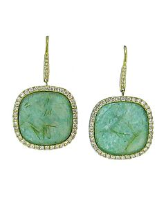 18k Yellow Gold Amazonite Earrings from Di Massima