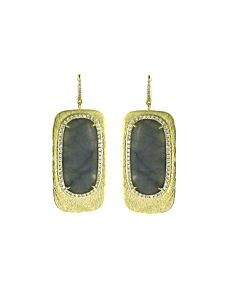 Grey Chalcedony & Diamond Earrings from Di Massima