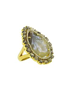 Agate Ring with Double Diamond Frame from Di Massima
