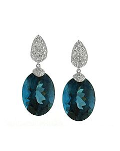 Diamond & Blue Topaz Earrings from Ancora