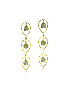 Smoky Labradorite & Diamond Earrings from Di Massima
