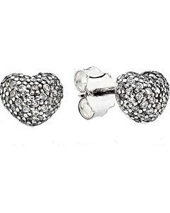 sterling silver In my heart stud earrings with CZ