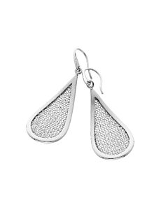Teardrop Shaped Dangling Silver & Mesh Earrings