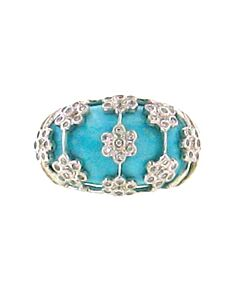 Estate Collection Turquoise & Diamond Dome Ring