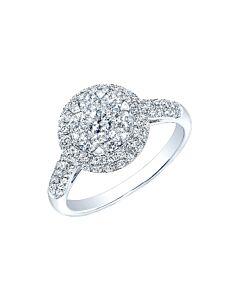 14k Gold Diamond Floret Double Halo Ring