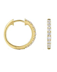 Slender Yellow Gold Diamond Hoops