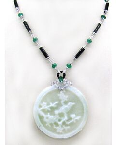 18K Jade, Emerald and Diamond Necklace