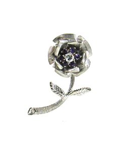 Estate Collection Diamond & Amethyst Flower Pin
