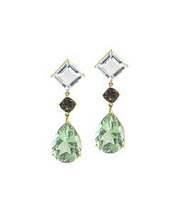 Prasiolite & White Topaz Earrings from Joon Han