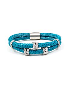 Teal Leather and White Sapphire Bracelet