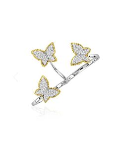 Two Tone Diamond Butterfly Hand Ring