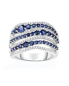 Wide Sapphire & Diamond Ring