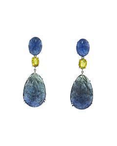 Carved Kyanite & Yellow Sapphire Earrings