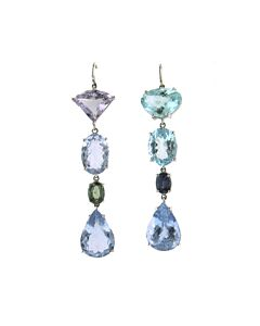 Joon Han Beryl, Sapphire & Aquamarine Earrings