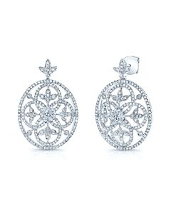 Ornate Dangling Diamond Earrings