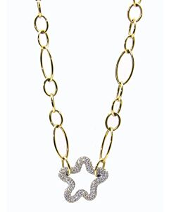 Gold Link and Pave Diamond Necklace