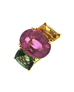 Pink Tourmaline, Citrine & Green  Tourmaline Ring