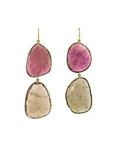 Pink & Brown Tourmaline Earrings