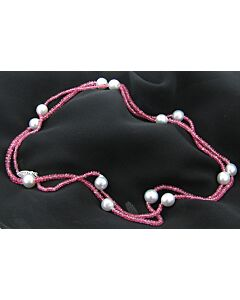 Long Pink Spinel & Cultured South Sea Pearl Necklace