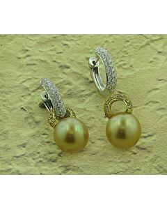 Golden Cultured South Sea Pearls w/ White & Cognac Diamonds