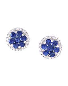 18k Gold Sapphire & Diamond Earrings