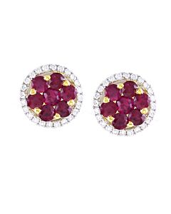 18k Diamond & Ruby Studs
