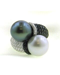 Incredible Black & White, Pearl & Diamond Ring