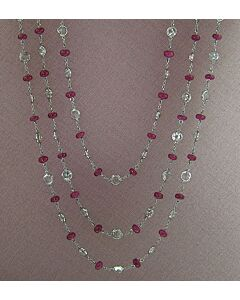 60 Inch Long  Ruby & White Sapphire Necklace