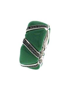 Enhanced Black Diamond & Green Enamel Stretch Ring