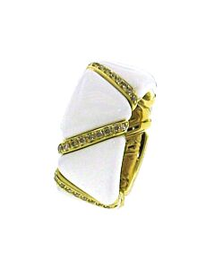 Cognac Diamond & White Enamel Stretch Ring