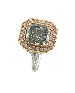 Natural Fancy Green Diamond Ring