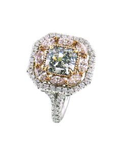 Two Carat Natural Green Diamond with Fancy Pink Diamonds