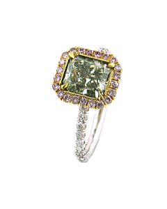 Natural Fancy Yellow Green Diamond with Pink Diamond Halo