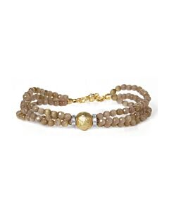 Taupe Quartz Beaded Bracelet