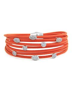 7 Row Orange Leather Bracelet
