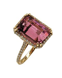 "Pink Tourmaline &  Diamond ""Venetian"" Ring"