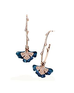 18k Gold Diamond Pave Ginkgo Leaf Earrings