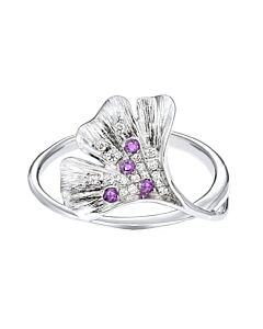 White Gold Diamond & Amethyst Ginkgo Leaf Ring
