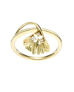 Yellow Gold Ginkgo Leaf Diamond Ring