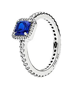 sterling silver timeless elegance ring, blue size 52