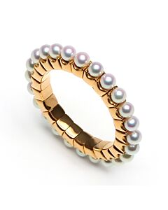 Rose Gold Flexible Pearl Ring