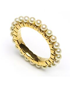 Yellow Gold Flexible Pearl Ring