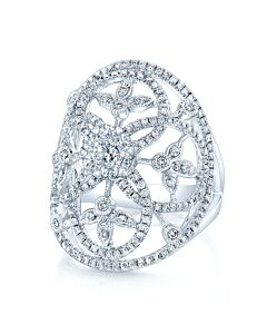 Domed Lacey Oval Diamond Ring