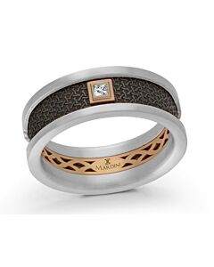 Men's Two Tone Carbon Fiber Gold & Diamond Wedding Band