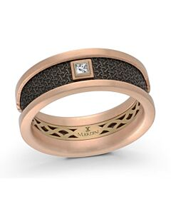 Men's Yellow & Rose Gold Carbon Fiber & Diamond Wedding Band