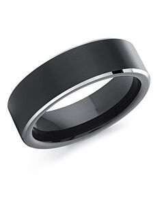 Men's Black & White Cobalt Wedding Band