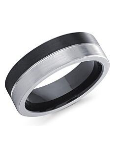 Men's Half & Half Cobalt Wedding Ring