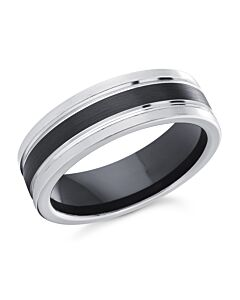 Men's 7 mm B/W Cobalt Wedding Ring