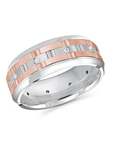 Men's 14k Two Tone Gold & Diamond Wedding Band