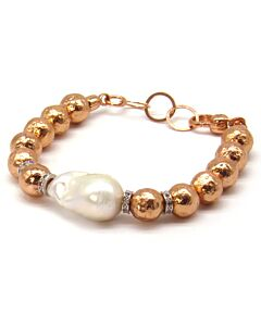 Sterling silver bracelet with baroque pearl